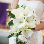 Wedding gown with bouquet